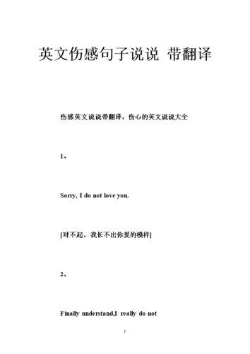 英文翻译伤感句子 伤感英文句子带翻译