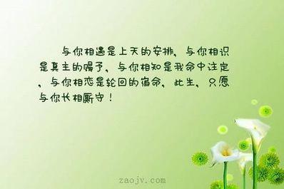 关于相遇相知相守的句子 将相遇相知相恋相思相守连起来较短的句子